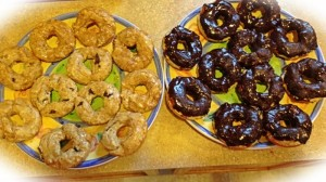 Gluten free carmel and chocolate covered donuts