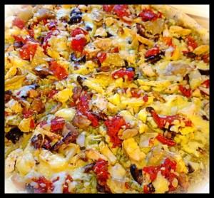 gluten free, egg free pesto chicken pizza