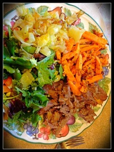 Organic Roast, Sweet Potato Fries, Roasted Cabbage, Salad with Creamy Avocado Dressing.